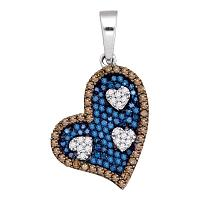 10kt White Gold Womens Round Blue Color Enhanced Diamond Heart Pendant 3/4 Cttw