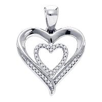 Sterling Silver Womens Round Diamond Heart Love Pendant 1/10 Cttw