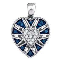 10kt White Gold Womens Round Blue Color Enhanced Diamond Milgrain Heart Cluster Pendant 1/4 Cttw