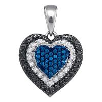 10kt White Gold Womens Round Blue Color Enhanced Diamond Layered Heart Pendant 1/4 Cttw
