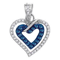 10kt White Gold Womens Round Blue Color Enhanced Diamond Heart Love Pendant 1/4 Cttw