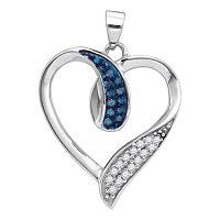10kt White Gold Womens Round Blue Color Enhanced Diamond Heart Love Pendant 1/5 Cttw
