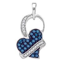 10kt White Gold Womens Round Blue Color Enhanced Diamond Captured Heart Pendant 1/3 Cttw