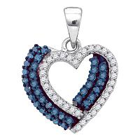 10kt White Gold Womens Round Blue Color Enhanced Diamond Double Heart Pendant 3/8 Cttw