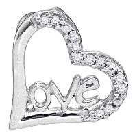 10kt White Gold Womens Round Diamond Heart Love Pendant 1/20 Cttw