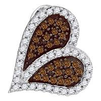 10kt White Gold Womens Round Cognac-brown Color Enhanced Diamond Sideways Heart Love Pendant 1/3 Cttw