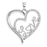 Sterling Silver Womens Round Diamond Double Heart Love Pendant 1/10 Cttw