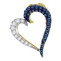 10kt Yellow Gold Womens Round Blue Color Enhanced Diamond Heart Love Pendant 1/4 Cttw