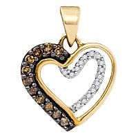10kt Yellow Gold Womens Round Cognac-brown Color Enhanced Diamond Heart Love Pendant 1/5 Cttw