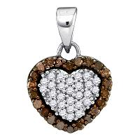 10kt White Gold Womens Round Cognac-brown Color Enhanced Diamond Heart Frame Pendant 1/3 Cttw