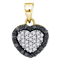 10kt Yellow Gold Womens Round Black Color Enhanced Diamond Small Heart Love Pendant 1/3 Cttw