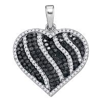 10kt White Gold Womens Round Black Color Enhanced Diamond Striped Heart Love Pendant 1-1/2 Cttw
