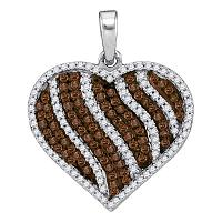10kt White Gold Womens Round Cognac-brown Color Enhanced Diamond Heart Stripe Pendant 1-1/2 Cttw