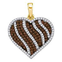 10kt Yellow Gold Womens Round Cognac-brown Color Enhanced Diamond Heart Stripe Pendant 1-1/2 Cttw