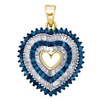 10kt Yellow Gold Womens Round Blue Color Enhanced Diamond Heart Outline Pendant 7/8 Cttw