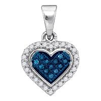 10kt White Gold Womens Round Blue Color Enhanced Diamond Cluster Small Heart Pendant 1/8 Cttw