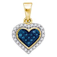 10kt Yellow Gold Womens Round Blue Color Enhanced Diamond Cluster Small Heart Pendant 1/8 Cttw