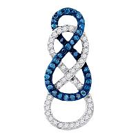 10kt White Gold Womens Round Blue Color Enhanced Diamond Linked Infinity Pendant 1/4 Cttw