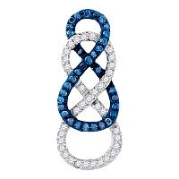 10kt Yellow Gold Womens Round Blue Color Enhanced Diamond Linked Infinity Pendant 1/4 Cttw