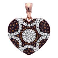 10kt Rose Gold Womens Round Red Color Enhanced Diamond Heart Cluster Pendant 1/3 Cttw