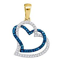 10kt Yellow Gold Womens Round Blue Color Enhanced Diamond Joined Double Hearts Pendant 1/5 Cttw