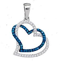 10kt White Gold Womens Round Blue Color Enhanced Diamond Joined Double Hearts Pendant 1/5 Cttw