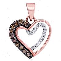 10kt Rose Gold Womens Round Cognac-brown Color Enhanced Diamond Heart Love Pendant 1/5 Cttw