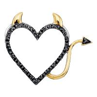 10kt White Gold Womens Round Black Color Enhanced Diamond Devil Naughty Heart Pendant 1/12 Cttw
