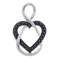 Sterling Silver Womens Round Black Color Enhanced Diamond Heart Infinity Pendant .01 Cttw