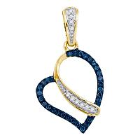 10kt Yellow Gold Womens Round Blue Color Enhanced Diamond Heart Love Pendant 1/8 Cttw