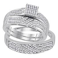 10kt White Gold His & Hers Round Diamond Square Cluster Matching Bridal Wedding Ring Band Set 3/8 Cttw
