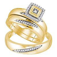 10kt Yellow Gold His & Hers Round Diamond Round Matching Bridal Wedding Ring Band Set 1/5 Cttw