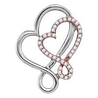 10kt White Rose Gold Womens Round Diamond Heart Love Pendant 1/6 Cttw
