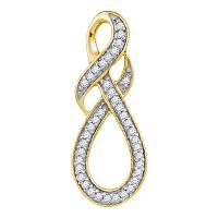 10kt Yellow Gold Womens Round Diamond Wraparound Infinity Pendant 1/5 Cttw