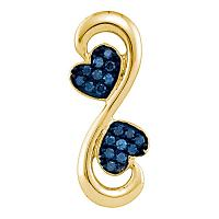 10kt Yellow Gold Womens Round Blue Color Enhanced Diamond Heart Infinity Pendant 1/4 Cttw