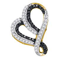 10kt Yellow Gold Womens Round Black Color Enhanced Diamond Heart Love Pendant 1/5 Cttw