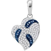 10kt White Gold Womens Round Blue Color Enhanced Diamond Heart Pendant 1/4 Cttw