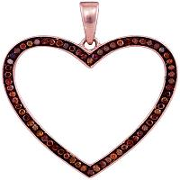 10kt Rose Gold Womens Round Red Color Enhanced Diamond Heart Love Pendant 1/5 Cttw