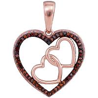 10kt Rose Gold Womens Round Red Color Enhanced Diamond Heart Love Pendant 1/6 Cttw