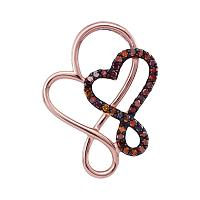 10kt Rose Gold Womens Round Red Color Enhanced Diamond Double Linked Heart Pendant 1/8 Cttw