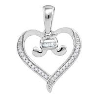 10kt White Gold Womens Diamond Bound Tied Heart Love Pendant 1/12 Cttw