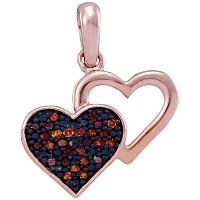 10kt Rose Gold Womens Round Red Color Enhanced Diamond Heart Love Pendant 1/12 Cttw