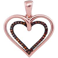 10kt Rose Gold Womens Round Red Color Enhanced Diamond Double Nested Heart Love Pendant 1/10 Cttw