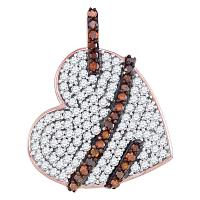 10kt Rose Gold Womens Round Red Color Enhanced Diamond Lasso Heart Love Pendant 1/3 Cttw