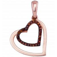 10kt Rose Gold Womens Round Red Color Enhanced Diamond Heart Love Pendant 1/10 Cttw