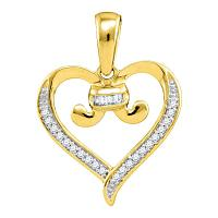 10kt Yellow Gold Womens Diamond Bound Tied Heart Love Pendant 1/12 Cttw