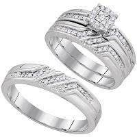 10kt White Gold His & Hers Round Diamond Solitaire Matching Bridal Wedding Ring Band Set 1/4 Cttw