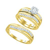 10k Yellow Gold Round Diamond Matching Trio Mens Womens Wedding Bridal Ring Set 1/3 Cttw