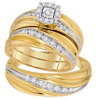 10kt Yellow Gold His & Hers Round Diamond Solitaire Matching Bridal Wedding Ring Band Set 3/8 Cttw