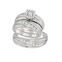 10k White Gold Round Diamond Mens Womens Matching Trio Wedding Engagement Bridal Ring Band Set